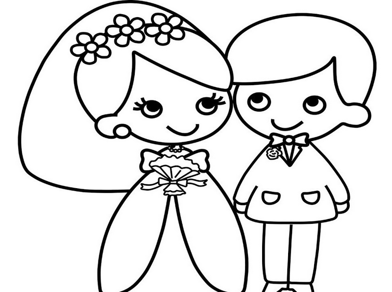 Beautiful bride and groom coloring pages