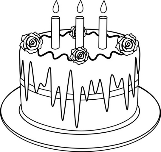 Birthday cake for card greetings coloring sheet