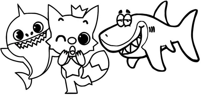 Cute Pinkfong Baby Shark Coloring Page