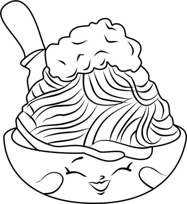 Cute Spaghetti Shopkins Coloring Page