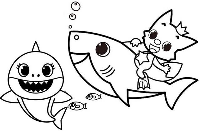 Fun Baby Shark Pinkfong Coloring Page for Kids
