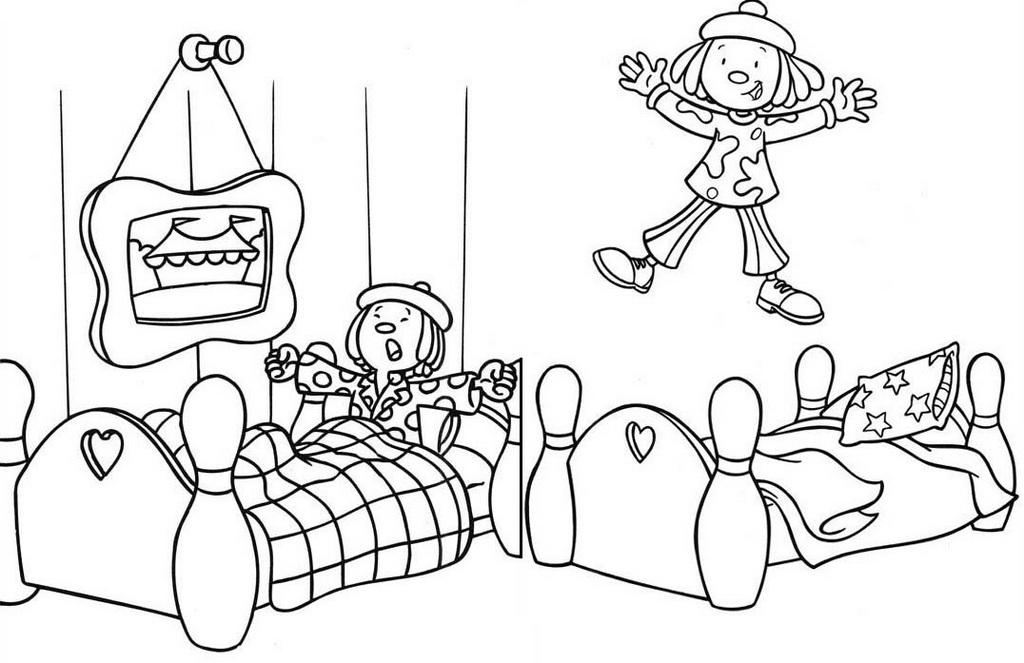 Jojo Circus in the bedroom coloring sheet
