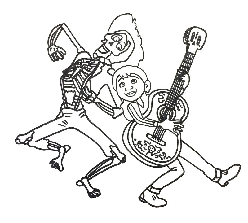 Miguel and Hector from Coco Disney Coloring Sheet
