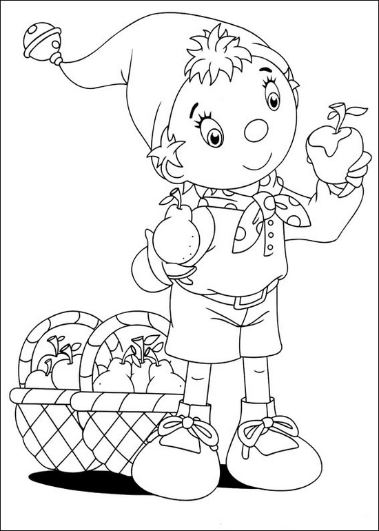 Noddy and apples in basket coloring picture