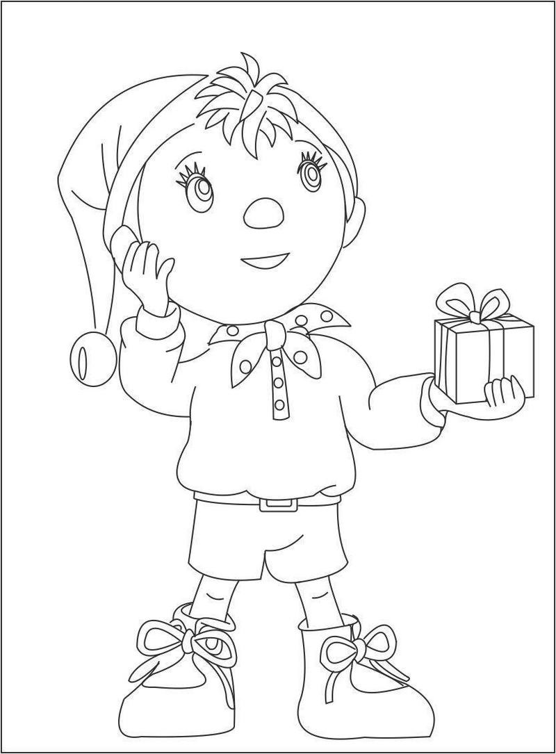 Noddy getting a gift coloring sheet