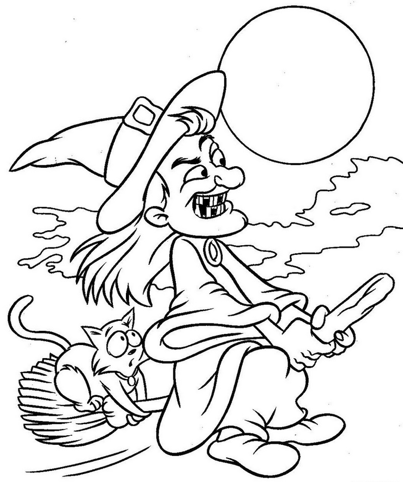 Printable Old Wicth flying on a broomstick coloring page