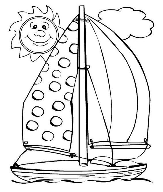 Sailboat with Smiling Sun Cartoon Coloring Sheet