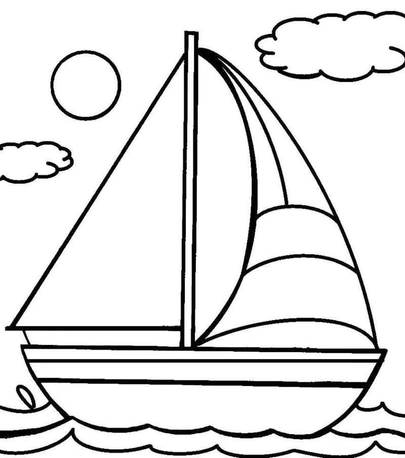 Simple Sailboat Coloring Pages for Kids
