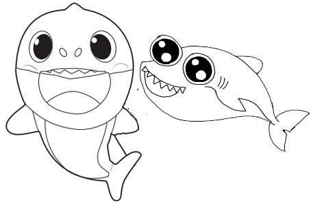 Simple Two Baby Shark Coloring Page