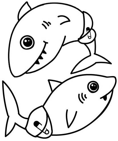 Twin Baby Shark Coloring Page