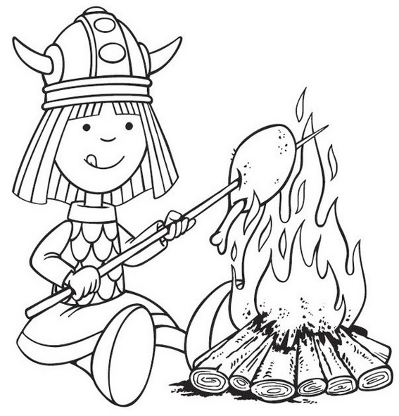 Vicky the Viking Grilling a chicken Coloring Picture