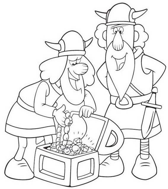 Viking finding treasures Coloring Sheets