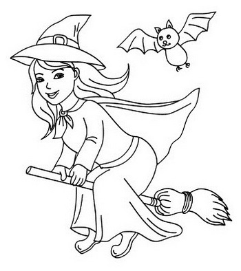 Witch flying with a bat Coloring Page