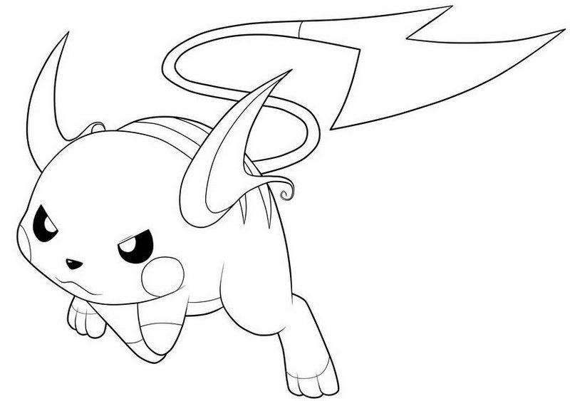 a bipedal rodent like Pokémon raichu from pokemon coloring picture