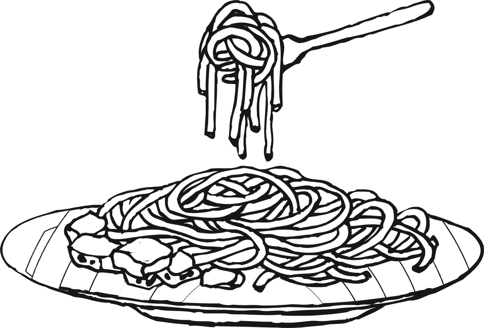 a plate of spaghetti coloring sheet