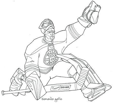 boston bruins hockey player coloring page for boys
