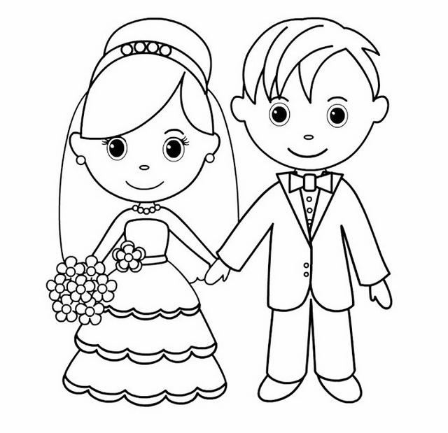 bride and groom line art drawing page