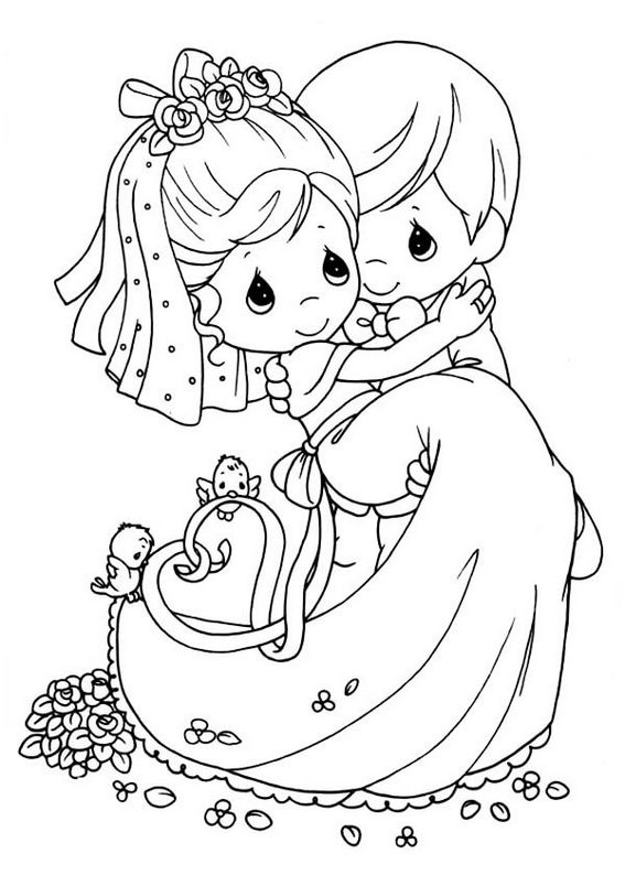 bride and groom special and romantic moment coloring pages