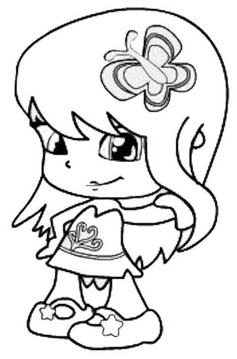 cute pinypon coloring and drawing page
