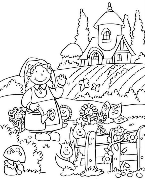 girl watering flower garden coloring picture
