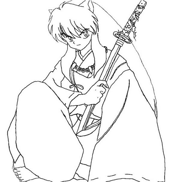 inuyasha half demon and half human coloring pages