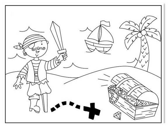 pirate and plunder on the sea coloring sheet