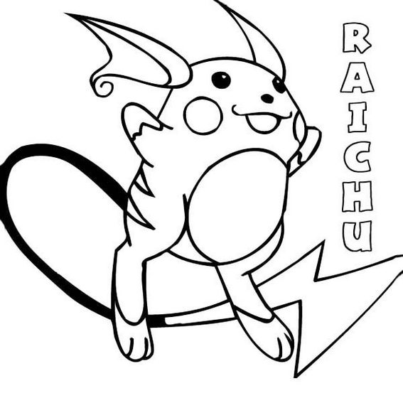 raichu from pokemon coloring page