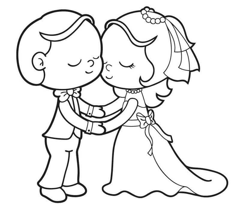 romantic bride and groom coloring page for kids