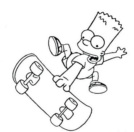 simpson doing skateboard coloring pages