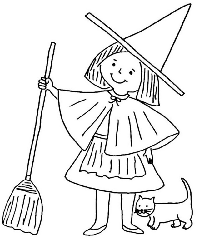 witch holding a broomstick cartoon coloring sheets