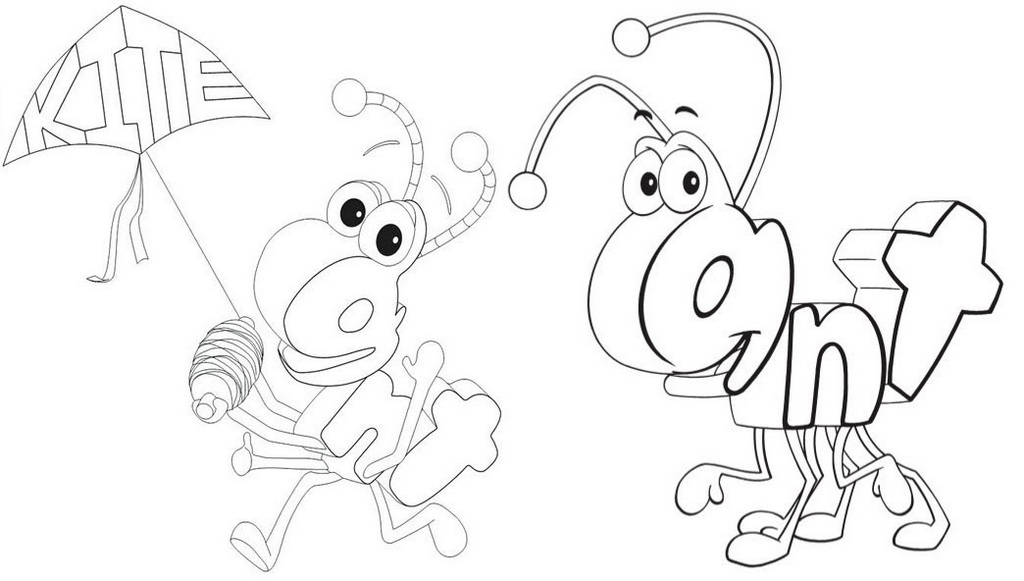 Cute Ant Wordworld Coloring Sheet