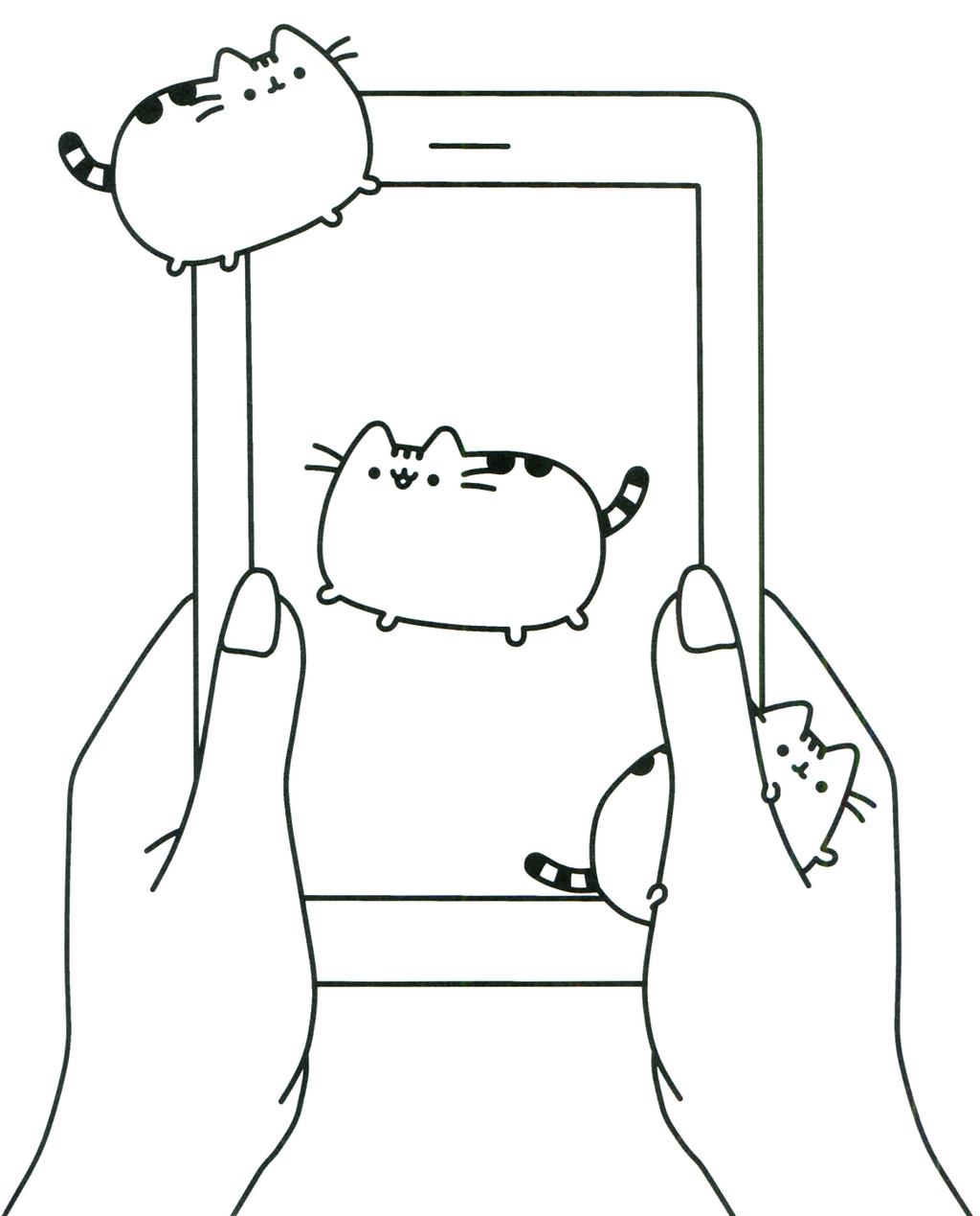 Kawaii Pusheen the Cat Smartphone Coloring Sheet