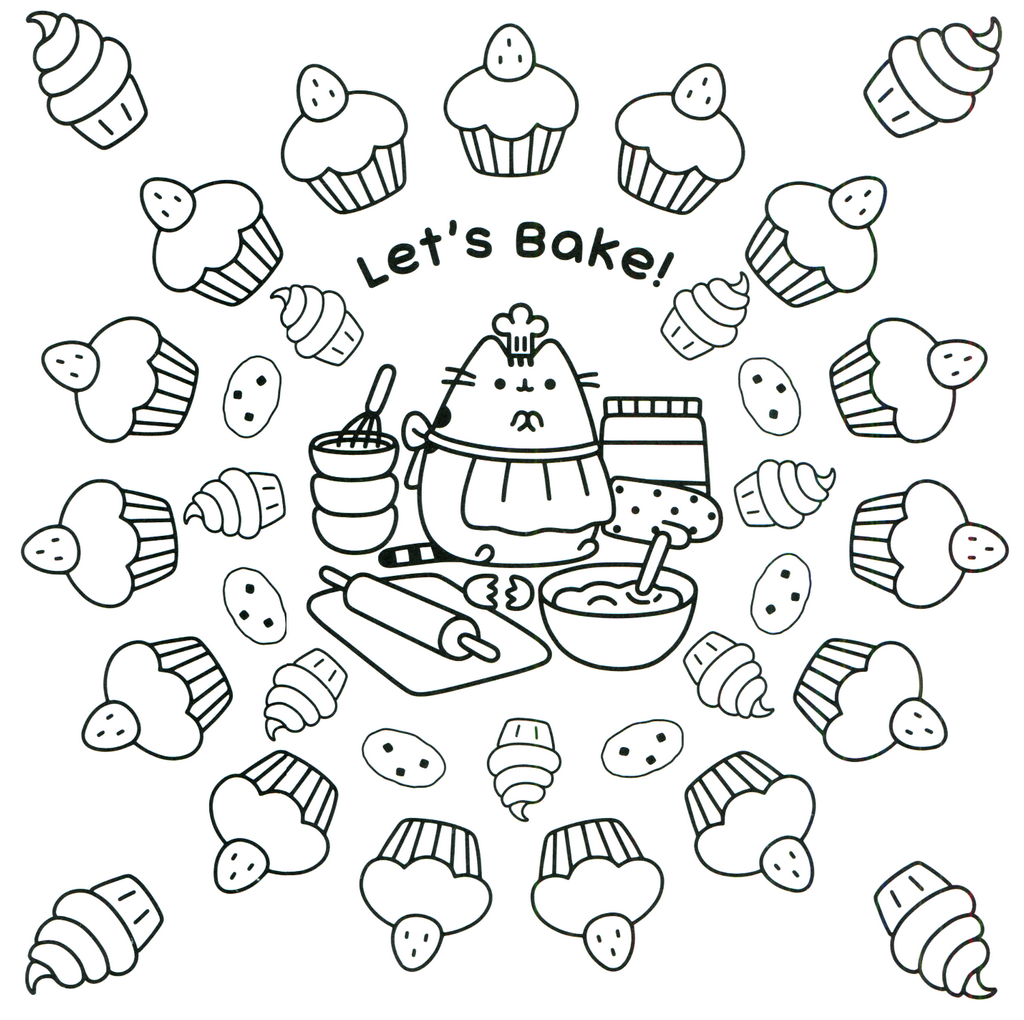 Pusheen Baking Cupcakes coloring sheet