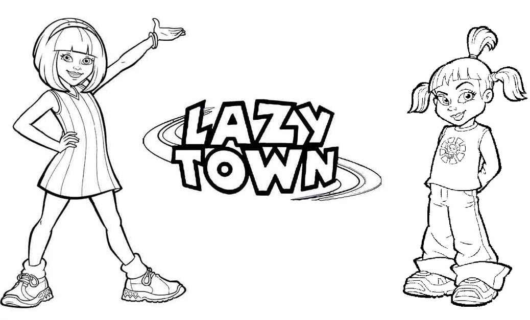 Stephanie and Trixie from Lazy Town Coloring Page