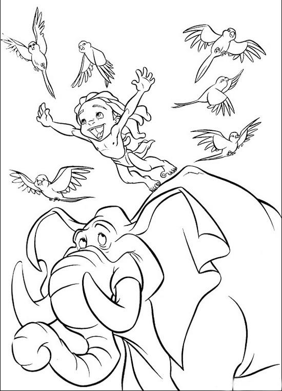 Tarzan II and Elephant coloring sheet