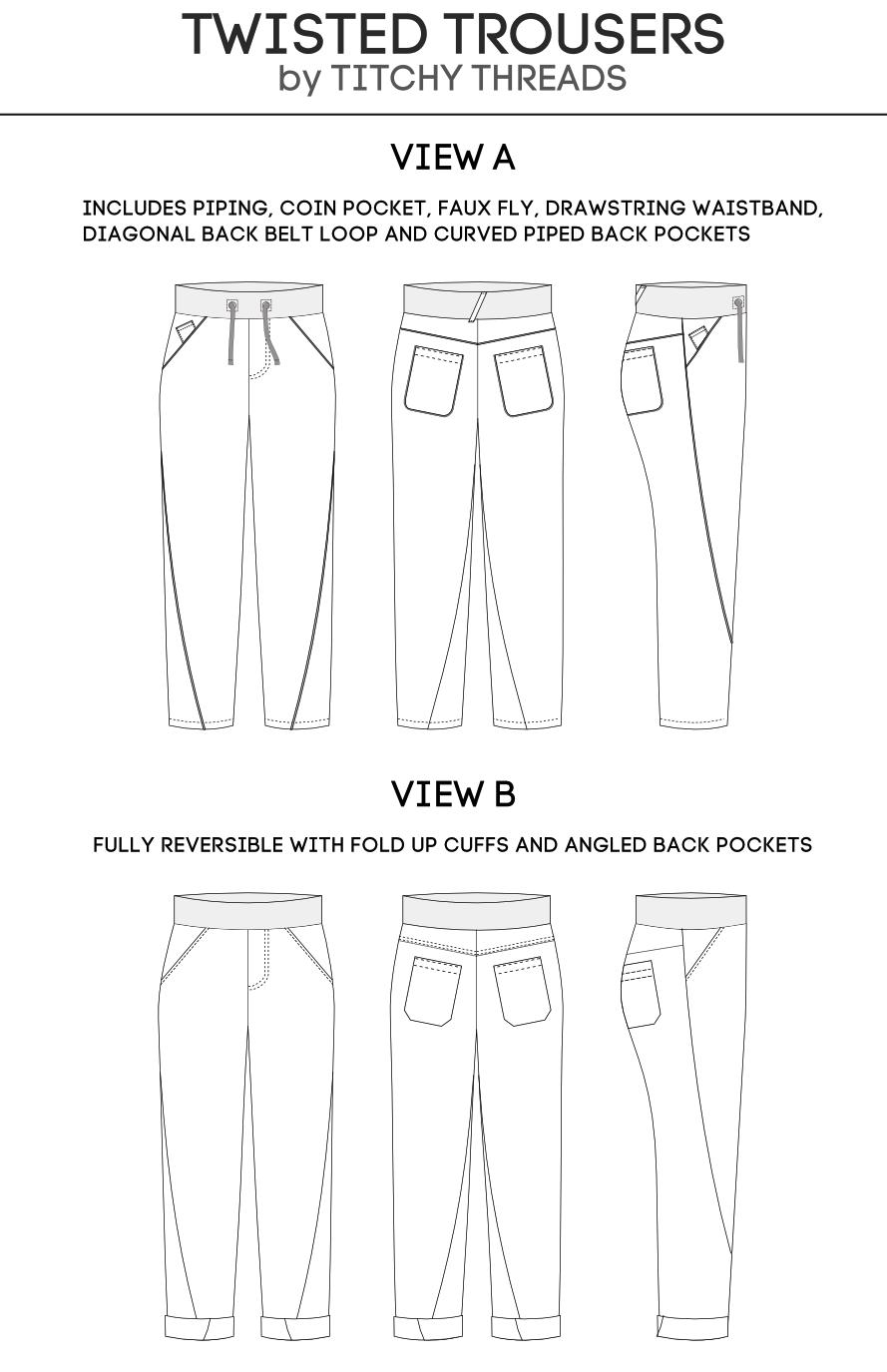 Trousers fashion drawing sheet