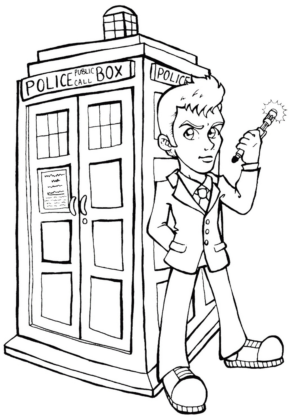 cartoon Doctor Who Coloring Page