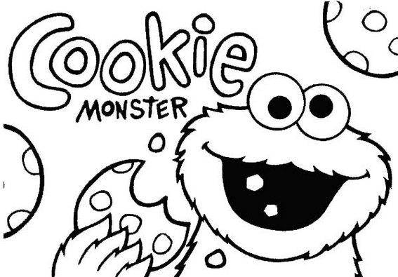 cookie monster eating cookies coloring page