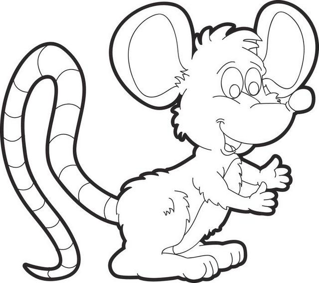 cute mouse cartoon coloring page for kids