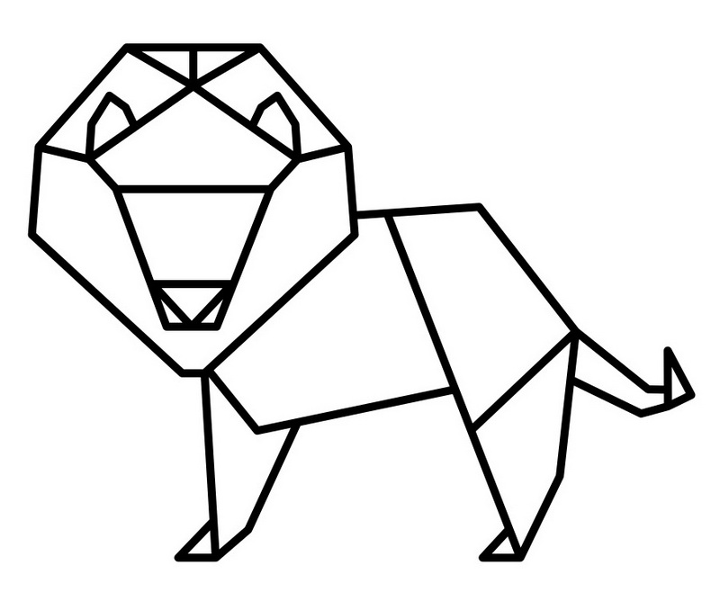 cute origami dino coloring page