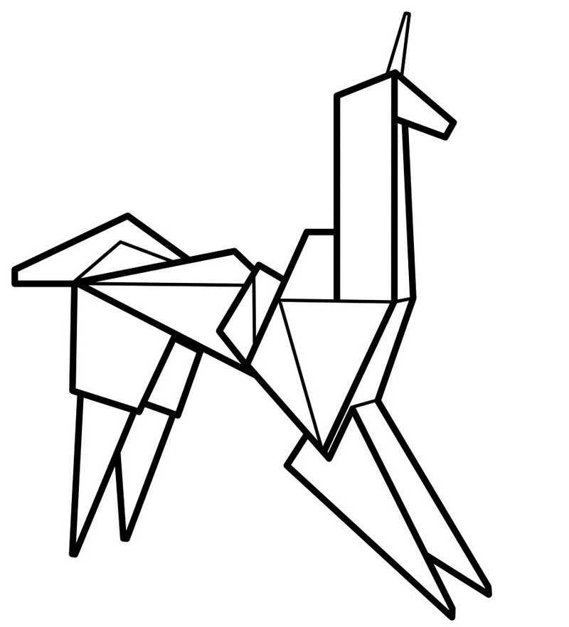 epic origami animal coloring page
