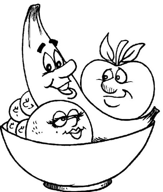 fruits with faces coloring food with face coloring picture