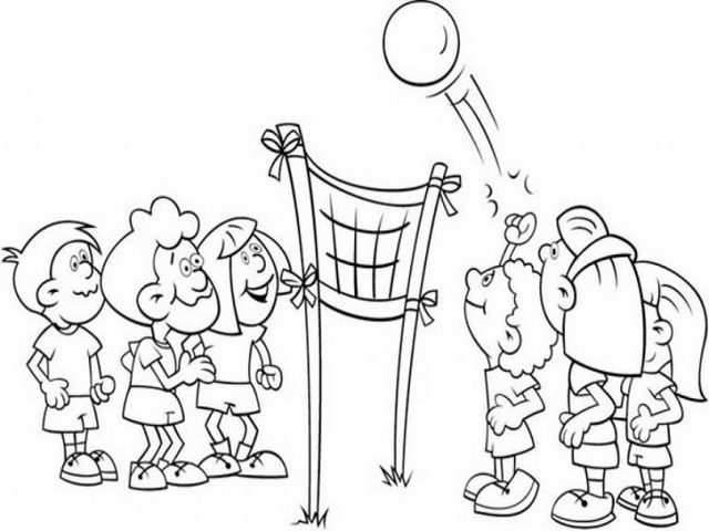 fun kids playing volleyball coloring page
