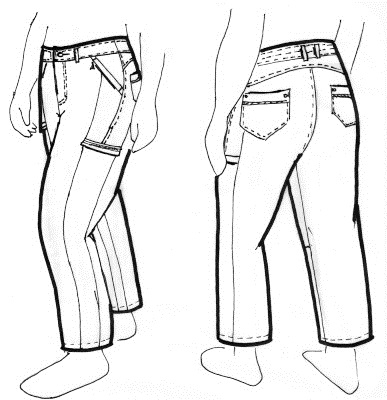 mens stylish pants and jeans drawing picture for inspiration design