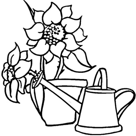 perfect floral garden tools coloring sheet