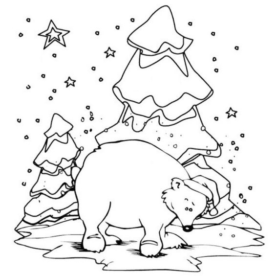 polar bear Christmas coloring sheet for kids