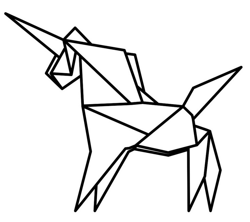 pretty awesome origami unicorn coloring page