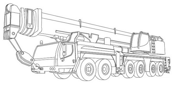 realistic crane truck design coloring sheet