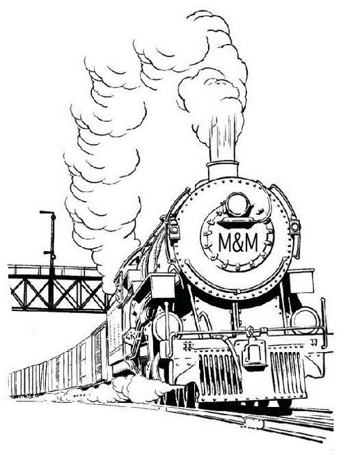 realistic steam train coloring picture