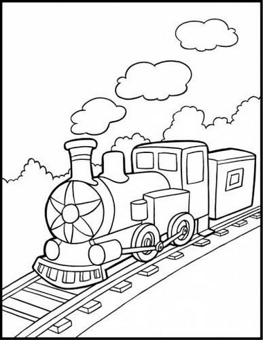 steam train coloring lineart picture for kids